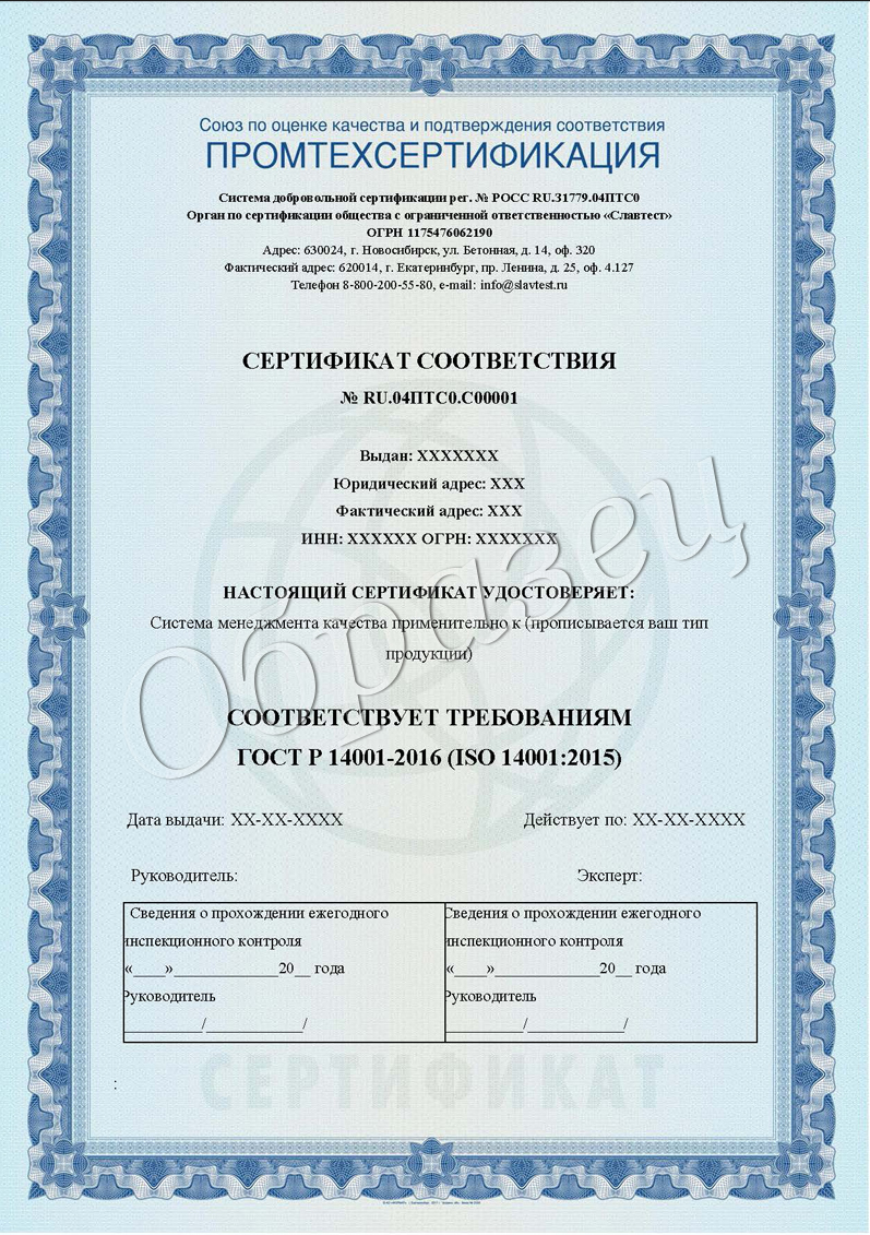Сертификат ИСО образец